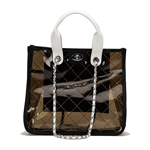 Women PVC Clear Quilted Shoulder Strap Transparent Bag Waterproof Chain Purse Handbag (Black) by LICK LIP