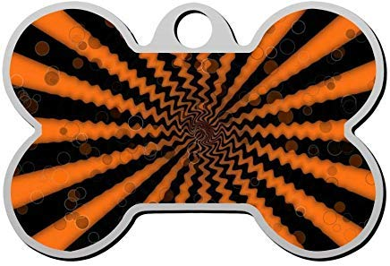 Spiral Halloween Orange and Black Personalized Pet Id Tag,Cute Bone Dog ID Tag,Pet Identification Tag,Gifts for Pet Lovers -