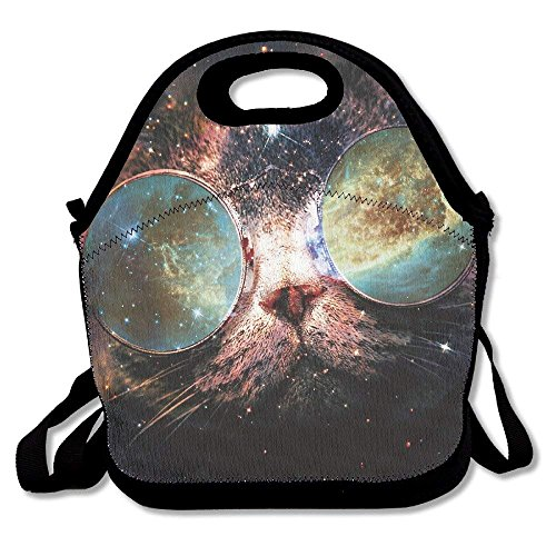 GoldBaoWang Cool Space Galaxy Cat Neoprene Lunch Picnic Bag Insulated Lunch Box Waterproof Lunch Tote with Zipper Strap for Women Kids Boys Girls and Men