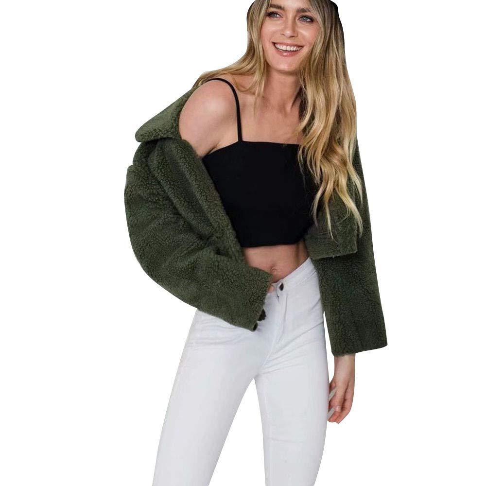 Dainzuy Ladies Sexy Casual Coat,Women Long Sleeve Warm Lapel Fleece Coat Winter Warm Jacket