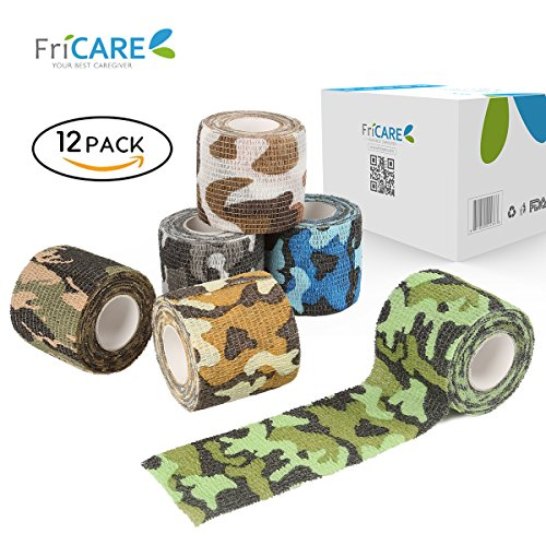 Waterproof Fabric Tape (12 Pack - FriCARE Camouflage Cohesive Bandage, Self-adhesive First Aid Medical Wrap, Elastic Compression Wrap, Waterproof Vet Tape, Hunting Gear, Support for Wrist,Ankle,Knee,Finger,Toe,2