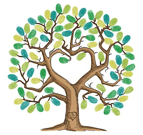 (Tulamama Fingerprint Tree Canvas - The Alternative to A Baby or Wedding Shower Guest Book - with 25 Complimentary Good Advice Cards & Ink. Heart)