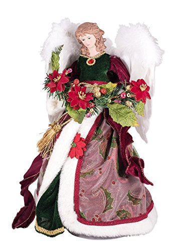 Angel Christmas Figure (Angel Figures Angel Tree Topper Dressed in an Elegant Dark Green Gown and Sheer Coat with Holy Leaf Design and Holds Garland of Poinsettias)