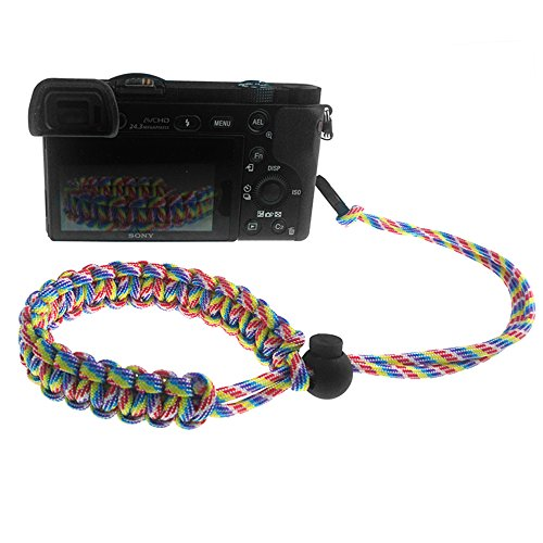 FoRapid Braided 550 Paracord Adjustable Camera Wrist Strap/Bracelet Quick Release Connector Fits All Camera Lugs for Mirrorless Compact System DSLR Cameras, Binoculars – Rainbow