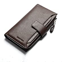 HAUTTON Unisex Long Top Layer Cow Leather Business Card Holder Wallet with Zipper