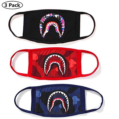(NF orange 3 Pack Shark Black Red Blue Mouth Face Mask Cotton Mouth-Muffle)