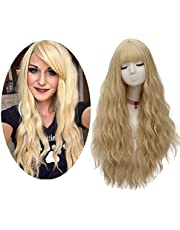 FiveFour Pruik 70 cm Golvende Synthetische Pruiken Lang Haar Haarstukken met Pony Pruik Cap voor Vrouwen en Meisjes