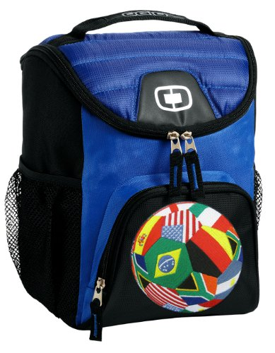 Flags Soccer Lunch Bag Soft Cooler Flag Soccer Ball Best Size Lunchbox by Broad Bay