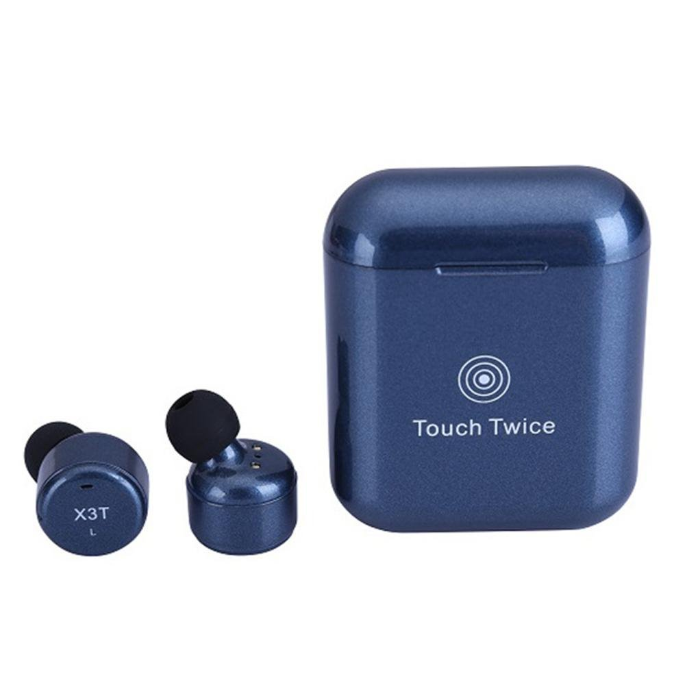 OKCSC X3T Wireless Bluetooth Earbuds Touch Control True Wireless Earphone with Mic Stereo Deep Bass Bluetooth Headset for iOS iPhone 8 Andorid Samsung (Blue)