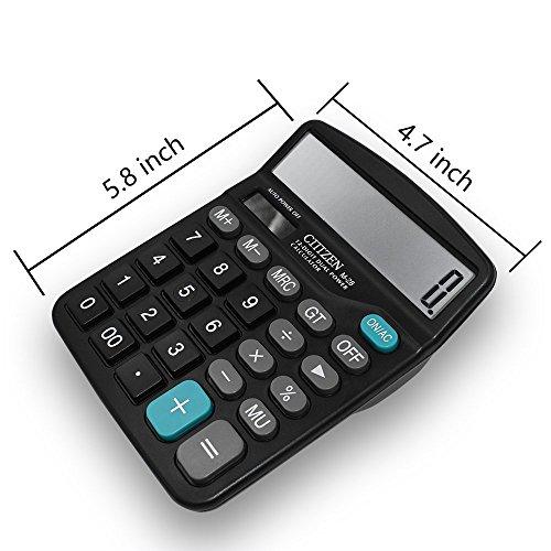 Everplus Electronic Desktop Calculator with 12 Digit Large Display Everplus Calculator Solar Battery LCD Display Office Calculator,Black
