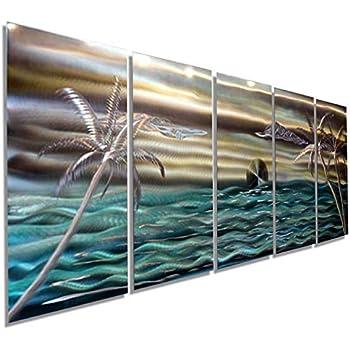 Amazon.com: Extra Large Gold, Aqua, Silver Abstract Palm ...