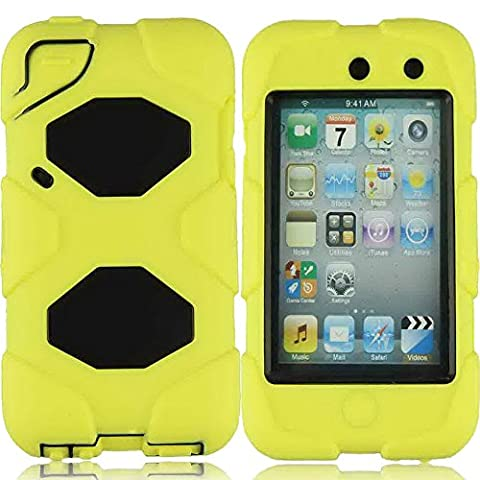 Generic For ipod touch 4th Generation Case, Heavy Duty Military Full Protection Shock-absorbing Sports Outdoor Shatter Weather Water Resistant Hybrid Armored Defender Series Case Wish Built-in Screen Protector For Ipod Touch 4 Only (Waterproof Ipod 4 Case Yellow)