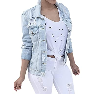 Longra Damen Jeansjacke Biker Style Classic Jeans Jacket Blue Denim Jacke  Blau Jeans Damenjacke Übergangsjacke im Used-Look Damen Herbstjacke  Steppjacke ... a4bf0d22e6