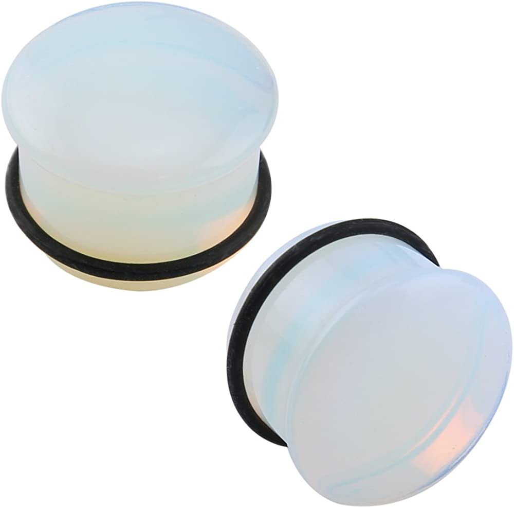 ZS Single Flare Clear Opalite Moonstone Ear Plugs and Tunnels with O-Ring Stretcher Expander Pair