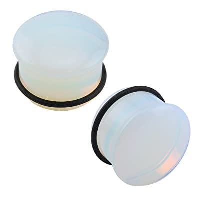 59cf21f7cdf2f Amazon.com  Single Flare Clear Opalite Moonstone Ear Plugs and Tunnels with  O-Ring Stretcher Expander Pair (00g(10mm))  Jewelry