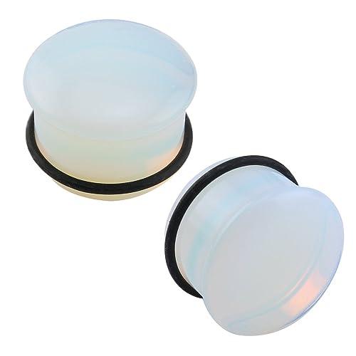 Pierced Art Trends Claro Sola Llamarada Opalite Moonstone Tapones para los oídos y Túneles con O-Ring Camilla Expander par (2) Gauge=0 g (8 mm): ...