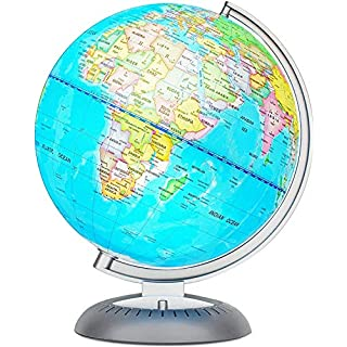 Illuminated World Globe for Kids with Stand – Built-in LED Light Illuminates for Night View – Colorful, Easy-Read Labels of Continents, Countries, Capitals & Natural Wonders, 8 Inch Diameter