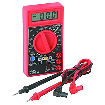 Digital Multimeter (DMM) with Test Leads - Checks Voltage (AC/DC Volts), Resistance/Ohms, Current (10 Amps @15s/500 MA), Diode, Transistor (NPN/PNP), Battery Tester Checker (Multi Meter) with ON/OFF