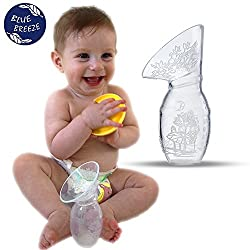 Manual Breast Pump + Lid + FREE Bonus - A Breastfeeding Guide By Blue Breeze. A Quiet Alternative To Noisy Electric Pumps. Easy-To-Use Silicone Breast Milk Collector.