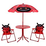 Kid Patio Table With 2 Folding Chairs Set W/ Beetle Umbrella Outdoor Garden Yard