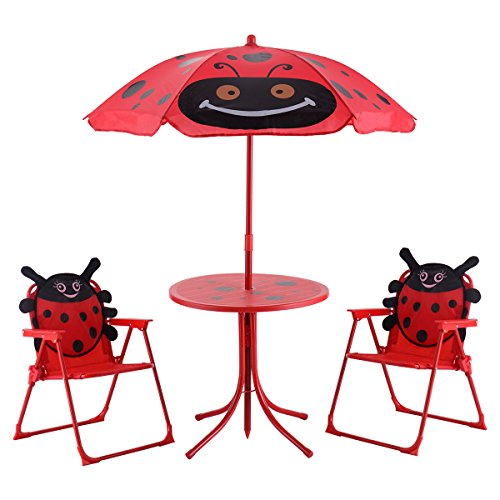 Kids Patio Set Table And 2 Folding Chairs w/ Umbrella Beetle Outdoor Garden Yard (Elmo Folding)