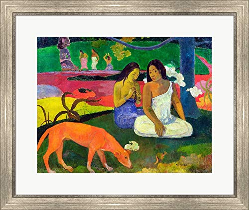Paul Gauguin Museum - Arearea (The Red Dog), 1892 by Paul Gauguin Framed Art Print Wall Picture, Silver Scoop Frame, 28 x 24 inches