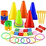 KUUQA 6 in 1 Sports Party Games Set Soft Traffic Cone Bean Bags Ring Toss Legged Race for Indoor Outdoor Family Game Garden Game Sports Day Games Supplies