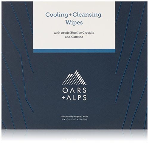 Oars + Alps Natural Face and Body Wipes   Cooling, Cleansing, Exfoliating, Caffeinated, 14 Count