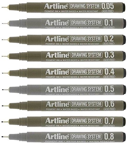 Artline Black Drawing Pens Technical Fineliners - Premium Architect Grade - Pack 9 by artline
