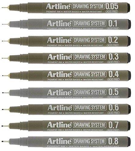 Artline Black Drawing Pens Technical Fineliners - Premium Architect Grade - Pack 9