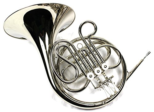 Intermediate F Key Single French Horn w/Case & Mouthpiece-Nickel Plated Finish by Moz