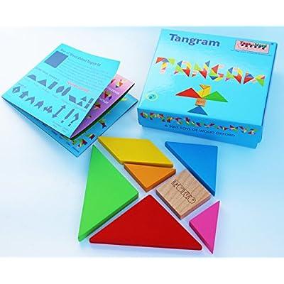 Toysandgames Tangram Wooden Puzzle Blocchi Di Forme Del Modello Con 7 Grandi Forme Geometriche Gioco Di Abilit In Legno Per Bambini