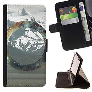 Momo Phone Case / Flip Funda de Cuero Case Cover - Geometría de la montaña Nevado;;;;;;;; - HTC One M7