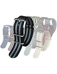 BluShark - The Original Premium Nylon Watch Strap - Multiple Sizes and Styles - 22mm James Bond (Black/Gray)