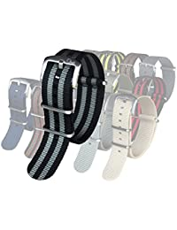 The Original Premium Nylon Watch Strap - Multiple Sizes and Styles - 22mm James Bond (Black/Gray)
