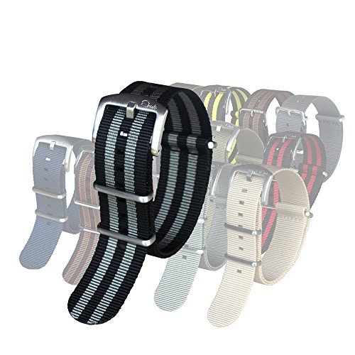 BluShark - The Original Premium Nylon Watch Strap - Multiple Sizes and Styles - 22mm James Bond (Black/Gray)