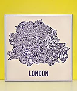 Amazon.com: Framed Central London Neighborhoods Map, Cream & Indigo ...
