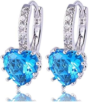 GULICX Girls Silver Tone Prong Cubic Zirconia Silver Tone Heart Pierced Drop Huggie Earrings Light Blue