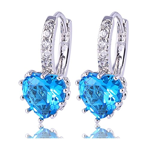 (GULICX Girls Silver Tone Prong Cubic Zirconia Silver Tone Heart Pierced Drop Huggie Earrings Light Blue)