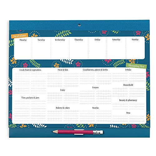 Boxclever Press Big Meal Planner. Magnetic Refrigerator Grocery List and Planning Pad. Nearly US Letter size. Perforated shopping list pad with weekly menu planner. Pocket for coupons & receipts.