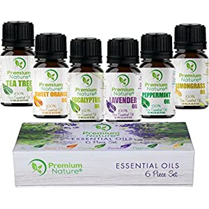 Aromatherapy Essential Oils Gift Set - Pure Organic Essential Oil for Diffusers Humidifiers & Carrier Oils Tea Tree Orange Eucalyptus Lavender Peppermint & Lemongrass 10 ml each Therapeutic Grade