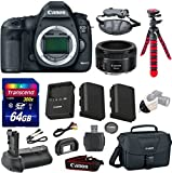 Canon 5D Mark III 22.3 MP Full Frame CMOS with 1080p Full-HD Video Mode Digital SLR Camera with Canon EF 50mm f/1.8 STM Lens + Transcend 64GB Memory Card + Canon Deluxe Case + 12
