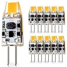 10-Pack G4 Base 1W LED Bulbs, 12V-24V AC / 10V-30V DC ( RV, vehicles, caravan, motor homes, boats), 10W Glass Halogen Light Bulbs Replacement, Warm White 2700K, JC T3 Lamp for Under Cabinet Lighting