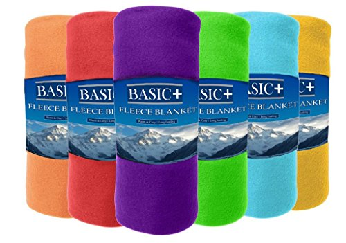 Basic Plus Wholesale Case Packed Fleece Throw Blankets & Decorative Furniture Covers Bulk of 24 by Premium - 100% Soft, Warm Polyester - Solid Assorted, Individual Colors Available - 50x60 Size