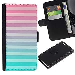 KingStore / Leather Etui en cuir / Apple Iphone 5 / 5S / White Lines Modelo rosado abstracto;