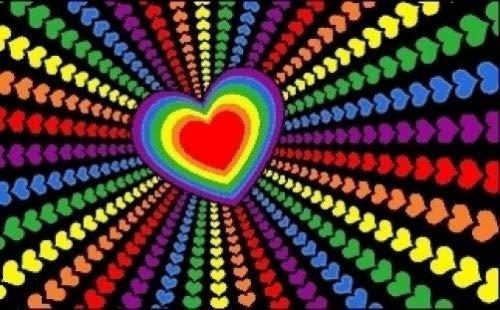 - Sittikatechai Colorful Rainbow Hearts Love Flag 3x5 ft Spectrum Decorative Op Art Psychedelic