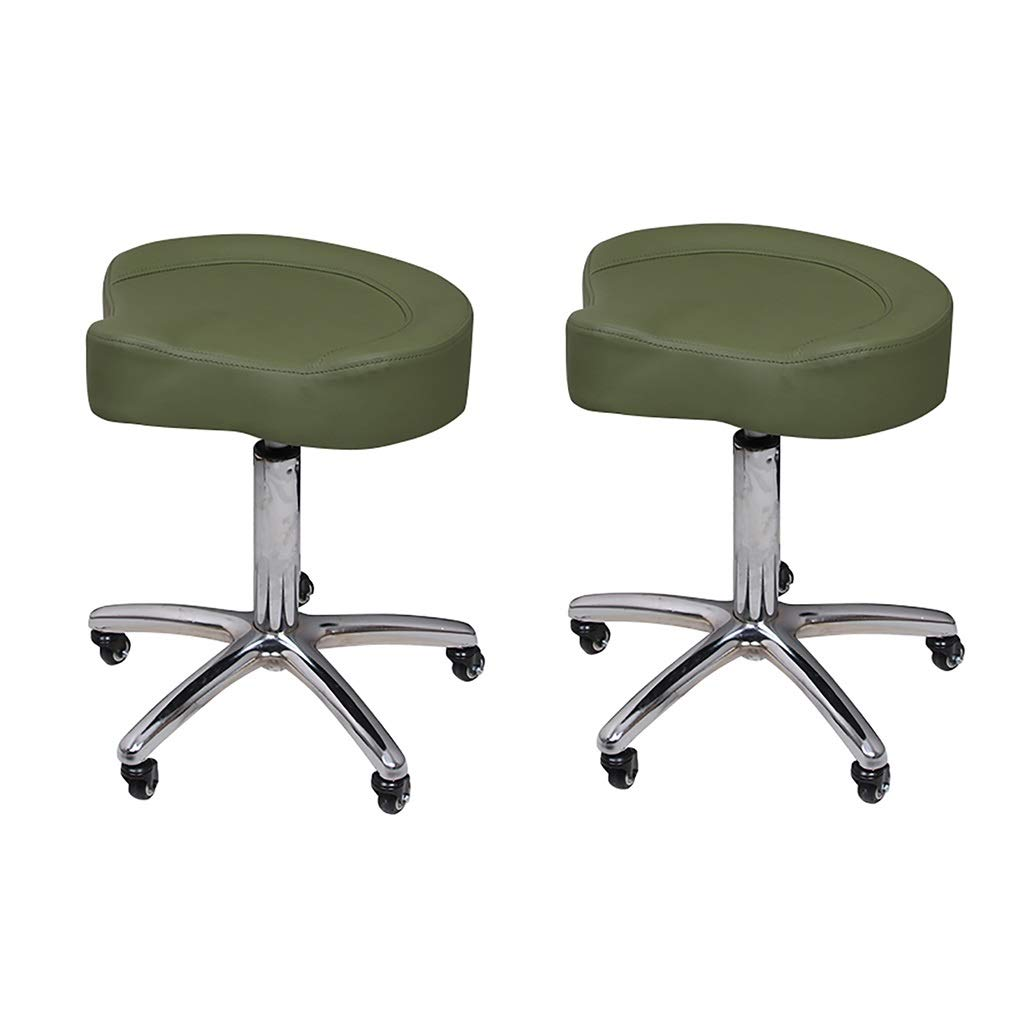 Army green×2 Beauty Stool, Spa Stool, Small Swivel Chair, Triangle Cushion, Stainless Steel Base Universal redation Clinic Laboratory Task Work Stool 40-60cm (color   ArmyGreen)