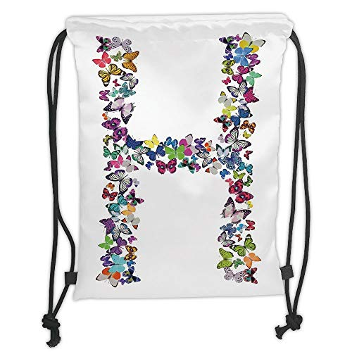 New Fashion Gym Drawstring Backpacks Bags,Letter H,Cute Collection Colorful Butterflies Lepidoptera Family Girls Exotic Nature Font Decorative,Multicolor Soft Satin,Adjustable Str -