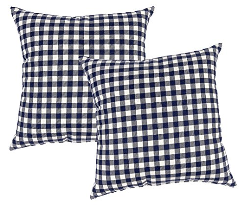 Metje 17x17 Check Decorative Toss Pillows, 2-Pack, Medium, Navy, 2 (Navy Blue Toss Pillow)