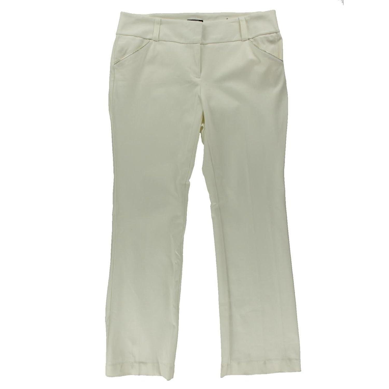 Alfani Womens Plus Metallic Trim Tummy Control Dress Pants White 22W